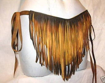 Authentic Fringed Leather Loincloth FESTIVAL Swimsuit Custom Fringe Deerskin Swimpouch Custom Handmade by Debbie Leather