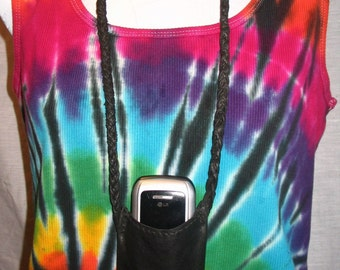 Leather Cell Phone Pouch Smart Phone Carrier Custom I Phone Neck Pouch Handmade by Debbie Leather