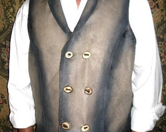 Leather Vest Double Breasted Vest COMICON Steam Punk Old West Style Custom Hand Made by Debbie Leather