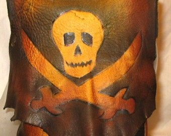 Leather Purse with Jolly Roger Skull Renaissance Steampunk Pouch Pirate Bag Handmade by Debbie Leather