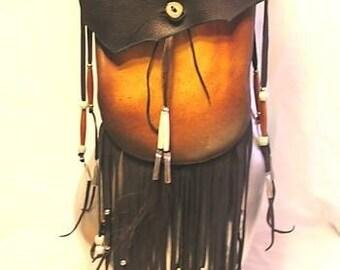 """Artisan Made Leather Medicine Bag Fringed Black Deerskin Crossover Purse Fringe Beads """"LAKOTA MEDICINE BAG"""" Handmade by Debbie Leather"""