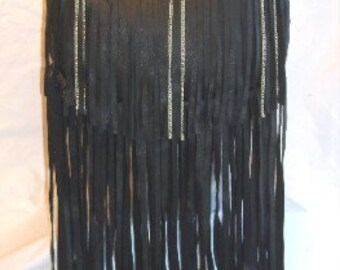 "Designer Leather Fringed Purse Artisan Biker Bag X- Long Fringe with Chains  ""ALICE WITH CHAINS"" Handmade by Debbie Leather"