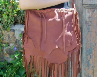 "Custom Leather Marsala Brown Handbag Bag Renaissance Hippie Deerskin Purse Fringed Purse ""CAT WHISKERS"" handmade by Debbie Leather"