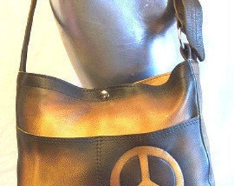 "Designer Handbag Artisan Leather Purse with Peace Sign Hippie Retro Hobo Bag ""CARGO PEACE"" Handmade by Debbie Leather"