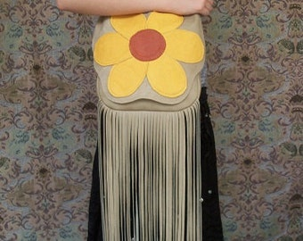 "70's Vintage Style Hippie Purse Giant Bright Daisy Fringed Retro Purse Flower Deerskin Hand Bag  ""FLOWER POWER""Handmade by Debbie Leather"