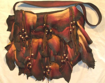"Artisan  Made Designer Leather Handbag Ruffled Deerskin Purse Beaded Bag   ""RUFFLE-ICIOUS""  Handmade by Debbie Leather"