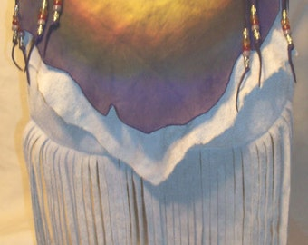 "Rainbow Colored Leather Purse Fringed Bag Hobo Vintage Custom Hippie  ""RAINBOW GATHERING""  Handmade by Debbie Leather"