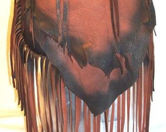 """Designer Leather Handbag Custom Fringed Artisan Fringe Purse Deerskin Fringe Bag  """"THE LIONESS""""  Handmade by Debbie Leather"""