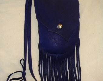 Deerskin Native American Style Pouch Medicine Bag Leather Purse in 7 x 6 in. Size Handmade by Debbie Leather