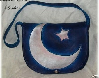 """Artisan Leather Renaissance Purse in Turquoise Deerskin with Moon and Star Inlay Detail """"Blue Magic Moon"""" Handmade by Debbie Leather"""