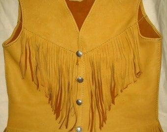 Leather Vest in Gold Deerskin Hippie Buckskin Western Motorcycle Fringed Vest Custom Handmade by Debbie Leather
