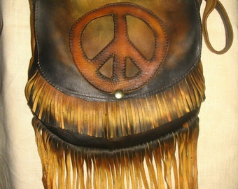 """Vintage Style Hand Made Peace Sign Purse in Distress Colored Deerskin """"DIMENSIONAL PEACE"""" Handmade by Debbie Leather"""