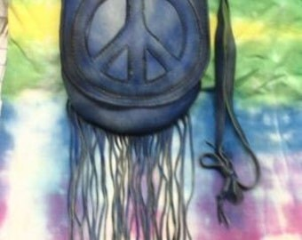 """Peace Sign Purse Hippie Cross Body Bag in Blue Distressed colored Deerskin Pouch """"SMALL BLUE PEACE"""" Handmade by Debbie Leather"""