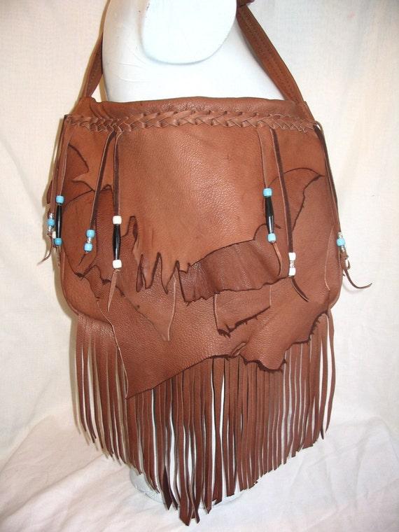 "Handmade Leather Fringed Purse Marsala Brown Deerskin Hobo Handbag with Beads and Fringe ""SCENIC RED ROCKS"" Handmade by Debbie Leather"