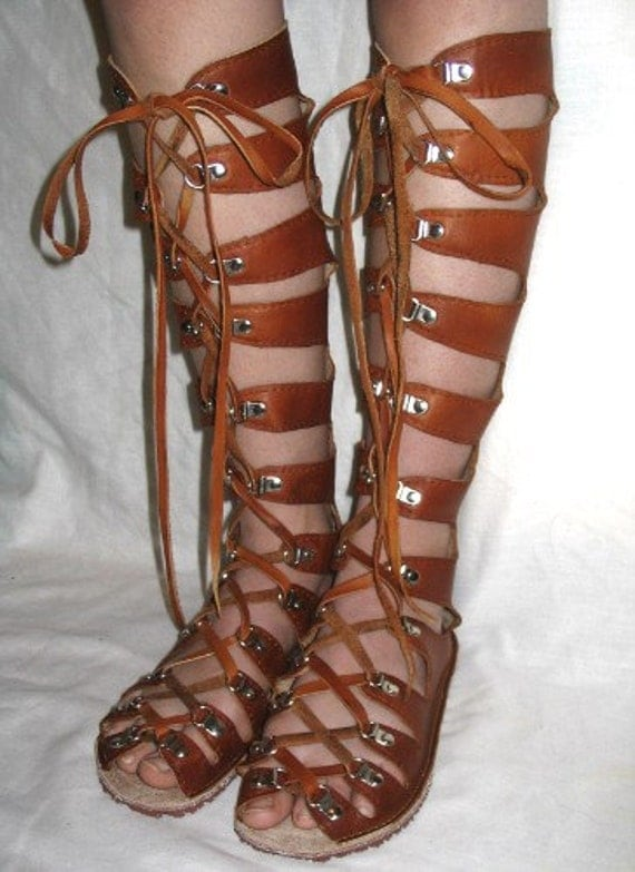 Leather Gladiator Sandals Medieval Renaissance Shoes Handmade ...