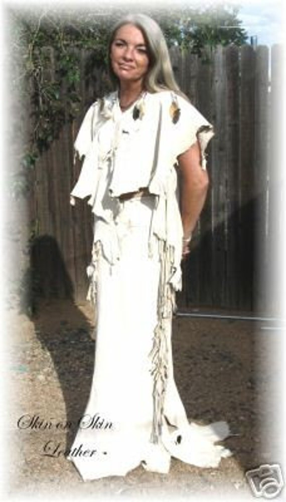 Leather  Deerskin Wedding Two Piece Outfit Dress Native American Style Regalia Pow Wow in Cream Deerskin  Handmade by Debbie Leather