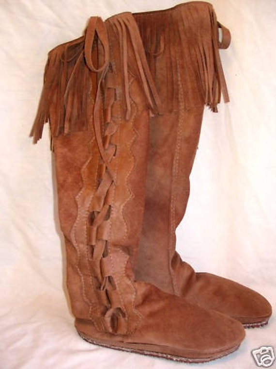 Artisan Made Suede Leather Fringed Knee High Moccasins Hippie RETRO Woodstock 70s Fringe Boots Custom Handmade by Debbie Leather