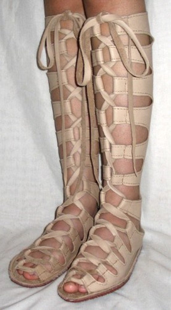 Leather Gladiator Sandals Renaissance Shoes Custom Leather Lace Up Shoes Handmade by Debbie Leather
