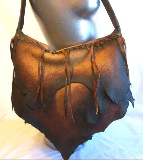 "Vintage Style Artisan Leather Purse Designer Handbag Distressed Hobo Bag Natural Flap Over Purse ""PAINTED PONY"" Handmade by Debbie Leather"