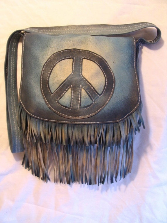 "Vintage Style Leather Fringed Peace Sign Purse Hippie Fringe Bag in Blue Leather Fringe  ""DEEP BLUE PEACE"" Handmade by Debbie Leather"