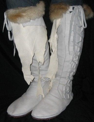 Artisan Custom Leather Knee High Comicon Moccasins Cream