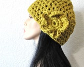 Simple Flower Crocheted Hat in Citron Bold Pea Green by Kanokwalee on Etsy  Original design by kanokwalee.