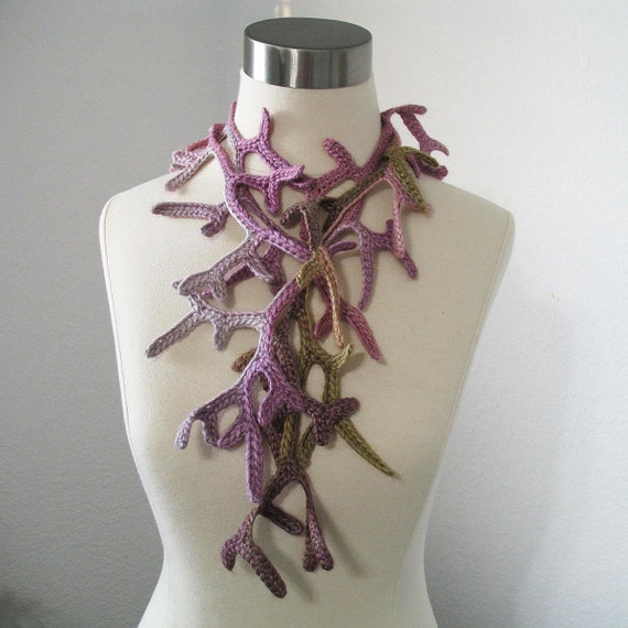 Petite Enchanted Forest Lariat Women Crocheted Scarf Fiber Jewelry in Pink Mist