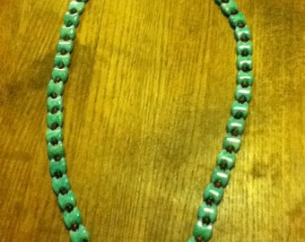 Hand Knot Amazonite and Tiger Eye Necklace
