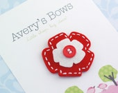 SALE see shop for details...................PURE Holland Wool Felt Flower - Red And White - hand stitched with snap clip