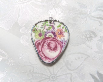 Vintage Recycled Broken China Pendant Pink Rose