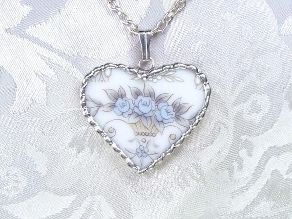 Vintage Broken China Pendant Blue Floral