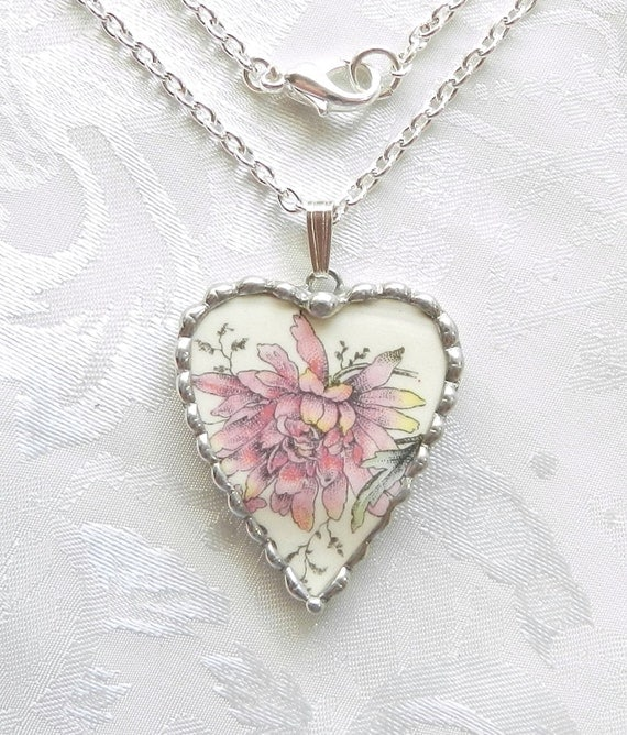 Broken China Necklace beautiful pink floral