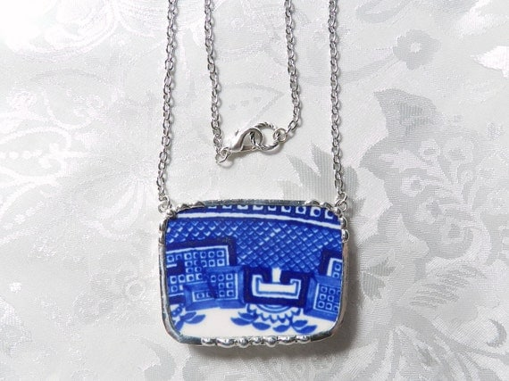 Broken China Necklace Blue Willow