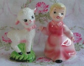 SALE....Vintage salt and pepper shakers, Mary and her little lamb, by Enesco,