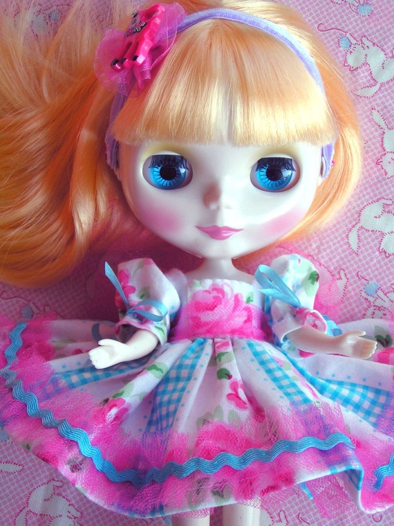 On HOLD for AMY.....SALE....ooak New Aqua and Pink Roses Baby Doll Dress for Blythe  Doll