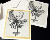 Tiger Lily Greeting Card - Orange Pearl background optional