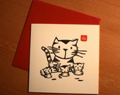 Letterpress card - Cat with kittens