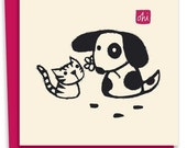 Dog giving flower to cat-Letterpress card