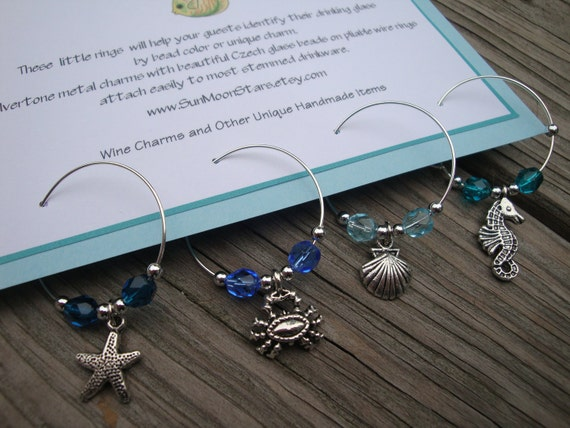 Set of 4 Sealife Wine Charms