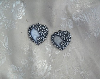 2 Embossed Silver Ox Heart Charms