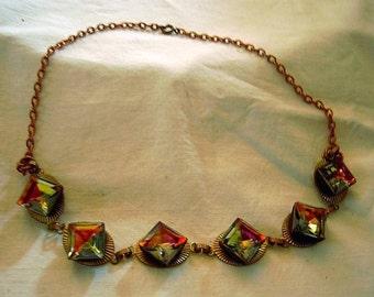 Vintage Rainbow Square Stones Necklace