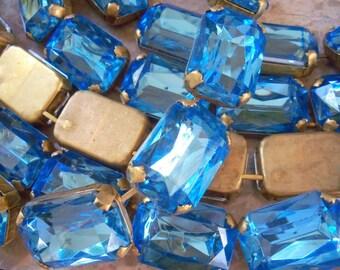 Sale! Vintage Blue Lucite Brass Chain