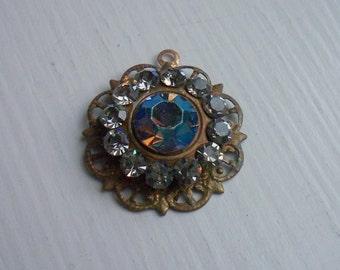 Vintage Swarovski Crystal Encrusted Brass Ox Pendant