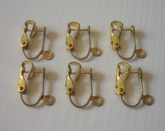 Vintage Brass Post Leverback Earring Findings For Embellishment