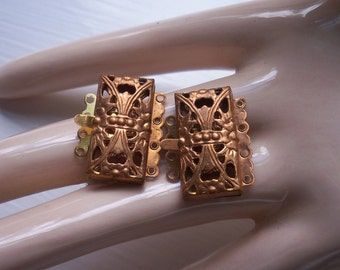 2 Vintage Ox Brass Filigree 4 Strand Bracelet Clasp