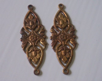 Floral Connector Pair Brass Ox Stamping
