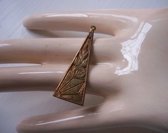 Vintage Brass Art Deco Triangle Stamping