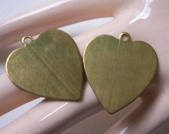 Vintage Brass Heart Plaque Pendants