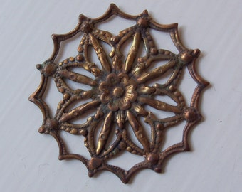 Vintage Oxidized Brass Floral Deco Stamping