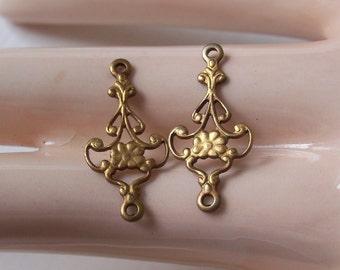 Tiny Vintage Brass Filigree Findings
